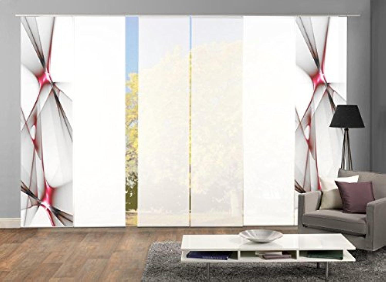 Home Fashion Set-Angebot Flchenvorhang KINGFIELD  wahlweise 3er-, 4er-, 5er oder 6er-Set in blau, rot oder apfelgrün  Besteehend aus Motiv- und Uni-Flchenvorhngen  je 245x60 cm (6, rot)