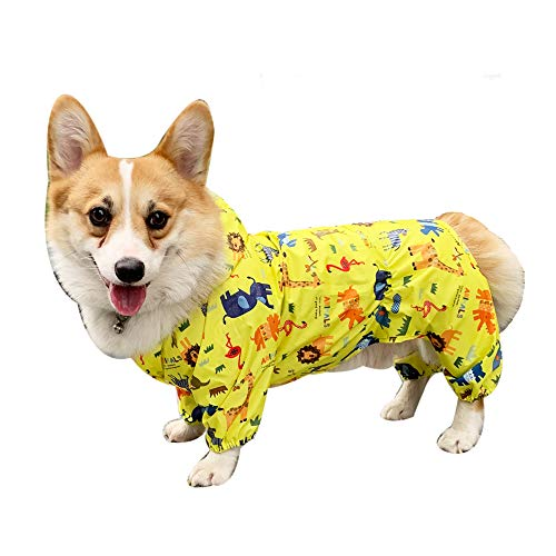 BbearT® Chubasquero para mascotas, impermeable para perros, ultraligero, diseño divertido, con capucha, impermeable, abrigos para perros pequeños (XL: longitud de espalda 36 cm)