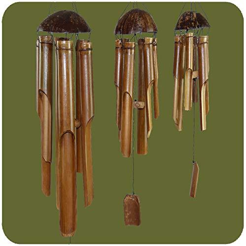 Simandra Windspiel Klangspiel Bambus Mobile Klangröhren Türglocke 3er Set Gross