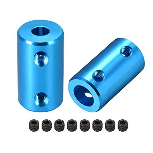 sourcing map 2stk. Schaft Kupplung Roboter Motor Rad Kuppler Blau 5mm zu 8mm Bohrung L25xD14