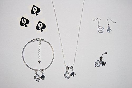 Queen of Spades Euro Collar Tobillera Cadena Tobillera Pendientes Naval Piercing Piercing Piercing Tatuajes Completo Hotwife Joyería Set Estilo 2 - Sexy Jewels