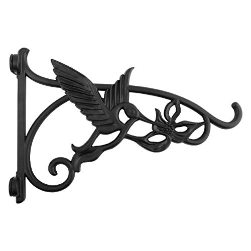 Lewondr Wall Hanging Plant Bracket, 13 Inch Retro Outdoor Indoor Garden Hook Décor Wrought Iron Decorative Plant Brackets with Screws for Balcony Bird Feeder Wind Chime Lantern, Humming Bird - Black