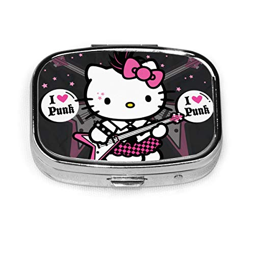 Pill Box- Pill Box with 2 Compartments, Square Pill Box, Can Be Used for Coin Purse, Travel Pill Box Best Image Wallpapers for Hello Kitty