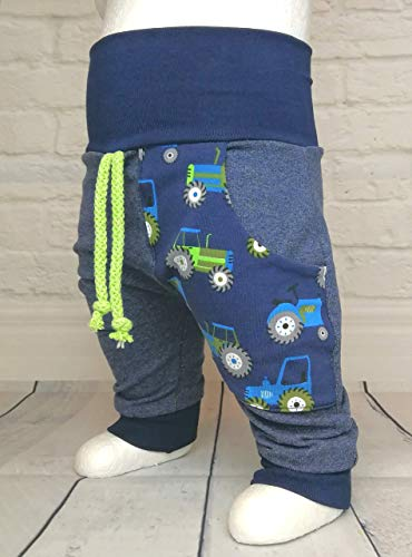 Baby Pumphose mit Tasche Gr. 50-104 Traktor Trecker Jeansoptik Grün handmade Puschel-Design