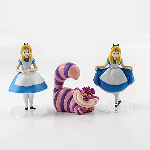Alice in Wonderland Cheshire Cat White Rabbit Action Figure Anime Decoration Collection Figurine Toys Model 3 Pcs
