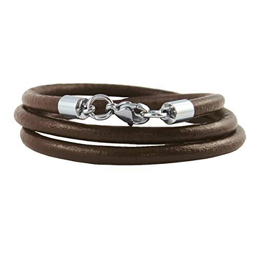 König Design Lederkette Lederhalsband Lederarmband Glatt 4 mm Herren Halskette braun 70 cm lang mit Karabiner Verschluss Silber Rund