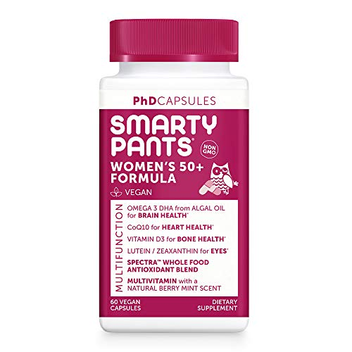 SmartyPants PhD Formula Daily Multivitamin for Women 50+: Vitamin D, C, D3, E, B12 for Energy, COQ10, Omega 3 DHA, Iodine, Lutein, Folate, Vegan, Easy to Swallow Capsules, 60 Count (30 Day Supply)
