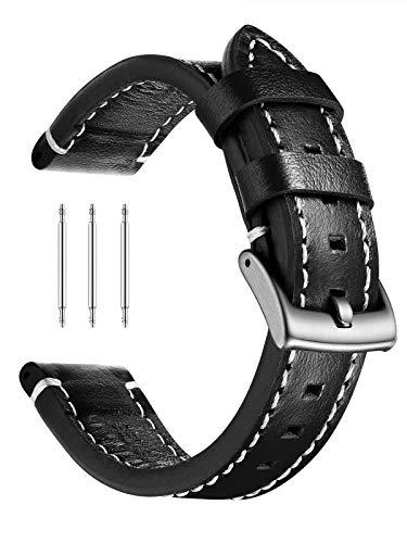 XIRUVE Correa de Reloj de Cuero Genuino Reemplazo para Mujer Hombre 18-24mm (20mm, Negro, Blanco,Hebilla de Plata)