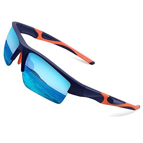 Elegear Gafas de Sol Hombre Polarizadas Gafas Deportivas Súper Ligero y Cómodo Anti UVA UV Marco TR90 Lente Espejo con REVO Gafas Hombre y Mujer Ciclismo MTB Running Coche Moto Montaña (Azulmedio)