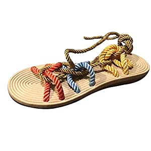 YWLINK Zapatillas De Verano para Mujer Roma Zapatillas De Playa De Encaje Plano De CáñAmo Cuerda Abierta Sandalias De Dedo del Pie Antideslizante CóModo Moda TamañO Grande Zapatos(Multicolor,39EU)