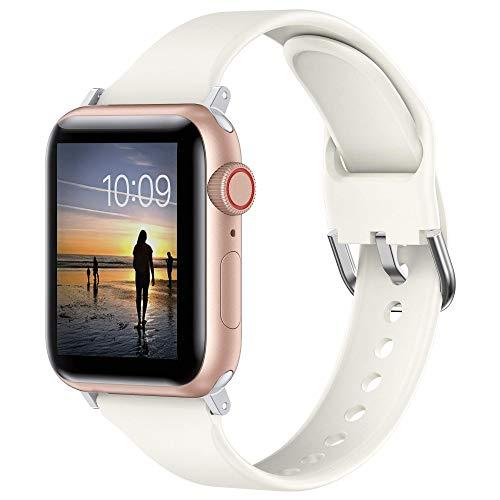 Glebo Armband Kompatibel mit Apple Watch Bands 42mm 44mm für Damen Herren,Weich Silicone Schlank Sportarmbänder Smartwatch Ersatzarmbänder für iWatch Series 6 5 4 3 2 1 SE, Beige/Klein