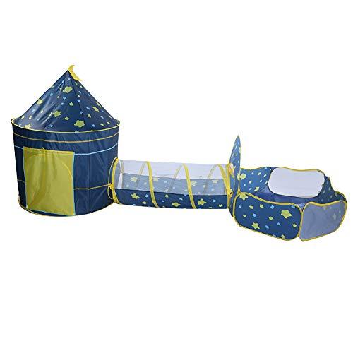 Carpa de juego emergente 3 en 1, carpa para niños plegable portátil con pozo de bolas de túnel para gatear, kit de carpa para juegos para niños con bolsa de almacenamiento, para uso en interiores y ex