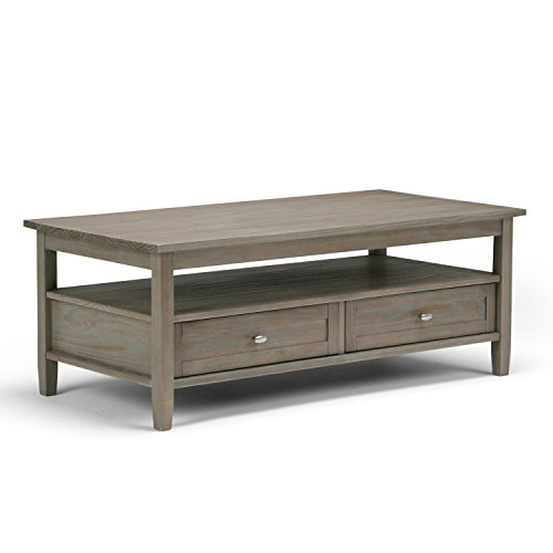SIMPLIHOME Warm Shaker SOLID WOOD 48 inch Wide Rectangle Rustic Coffee Table in Distressed Grey , for the Living Room and Family Room