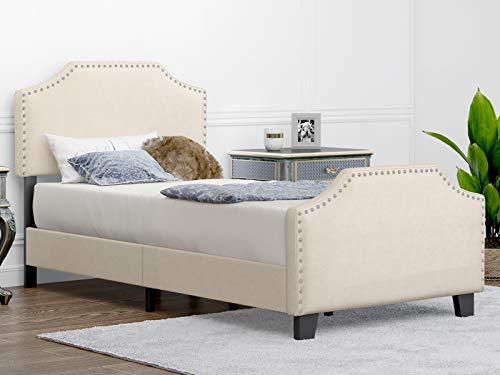 mecor Twin Upholstered Linen Platform Bed with Curved Shape Headboard and Footboard, Metal Frame with Strong Wood Slat Support, Headboard Height Adjustable, No Box Spring Needed, Beige, Twin Size