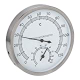 Fdit 2-in-1-Edelstahl-Saunathermometer Hygrometer Thermo-Hygrometer Zubehör für Sauna-Innenausstattung MEHRWEG VERPAKUNG