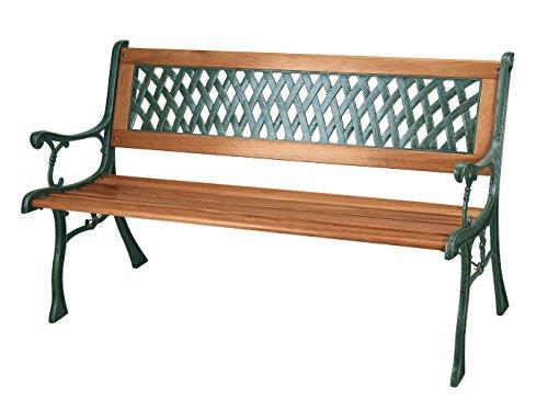 Banco de jardín con listones de madera y patas de hierro fundido,...