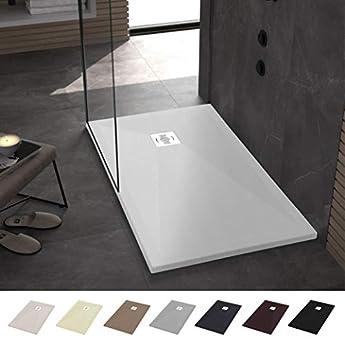Foto di Piatto doccia in resina 70 x 90 Ebro - Effetto ardesia e antiscivolo - Finitura opaca - Disponibile in tutte le dimensioni - Include sifone e griglia - Bianco RAL 9003