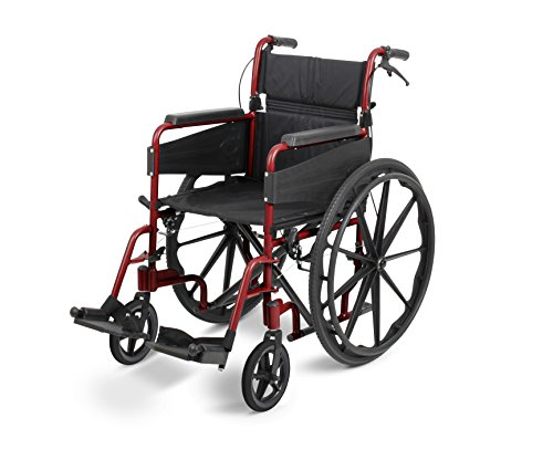 Days Escape Lite Self Propelled Narrow Wheelchair, Ruby Red, Lightweight and Foldable Frame, Aluminium Wheelchair, Portable Transit Travel Chair, Removable Footrests