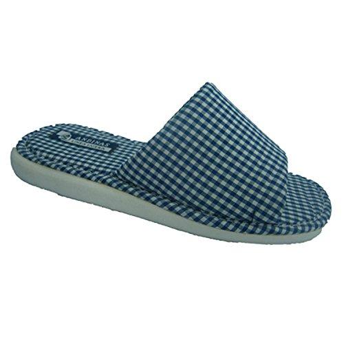 Chancla toalla de puntera abierta motivo vichy Andinas en azul marino talla 37