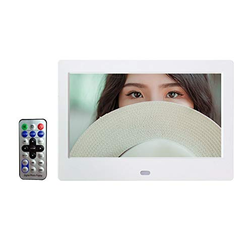 HLY Trading 7 Zoll HD Digital Photo Frame Video Player Digitaler Bilderrahmen mit Musik, Video-Funktion Digitaler Rahmen (Color : White)