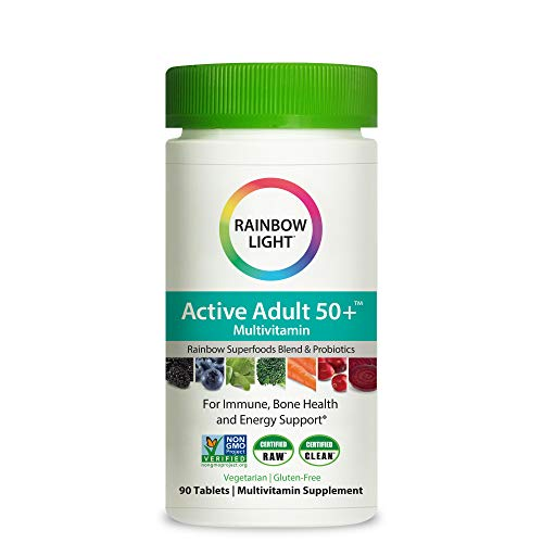 Rainbow Light Active Adult 50+ One Daily High Potency Multivitamin for Immune, Bone, and Energy Support, 90 Tablets, Non-GMO, Vegetarian, Gluten Free, 3 Month Supply
