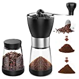 AVNICUD Manual Coffee Grinder, Hand Coffee Grinder with Two Glass Jars 5.5 oz Each, Adjustable Setting Conical Burr Mill for for Precision Brewing