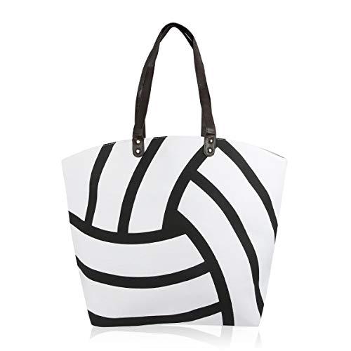 Sports Game Team Large Fabric Tote Bag - Basketball, Softball, Football, Baseball, Varsity Gym Shoulder Handbag (Volleyball)