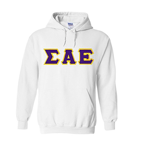 Sigma Alpha Epsilon Lettered Hooded Sweatshirt Medium White