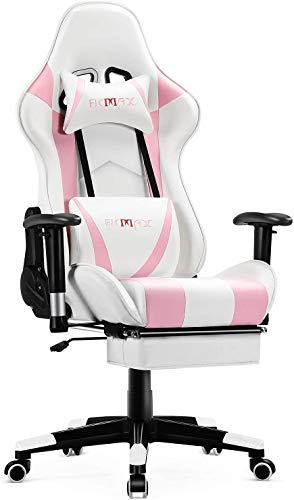 Ficmax Pink Gaming Chair with Footrest, Racing Style Gamer Chair with Massage, Reclining Computer Chair for Gaming, Ergonomic Gamer Chair for E-Sports, Height Adjustable Gaming Desk Chair (Pink)