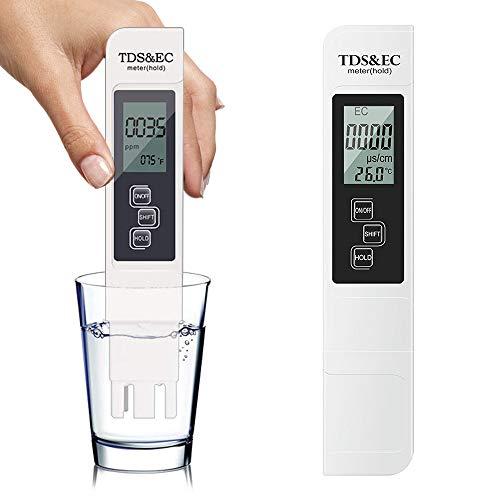 SUNNED Testeur pH Mètre électronique, TDS&EC Mètre Température, 3 en 1 Testeur de qualité de l'eau Auto-Calibration, Testeur numérique avec Écran LCD Test pour Piscine, Aquarium