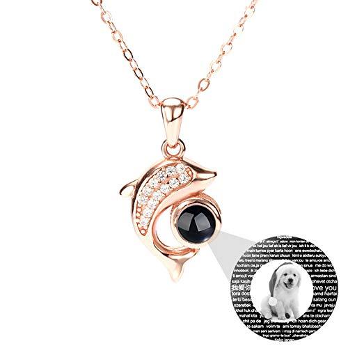 Collar de proyección personalizado Collar de foto personalizado 100 idiomas TE AMO Collar Colgante de delfín Collar de promesa(Oro rosa Blanco y negro 14)