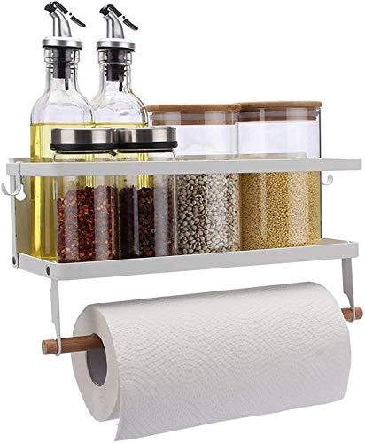 VIAV Design Kühlschrank Regal Hängeregal für Kühlschrank Magnet Gewürzregal mit Rollenhalter Küchen Organizer Aufbewahrung, Punch-Free Schwarz
