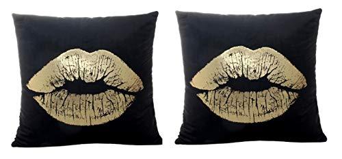 KIRALOVE Dos Fundas de Almohada cojín de sofá 40x40 cm - Beso - cojín Cuadrado Decorativo - Estampado Dorado - Lino - Dormitorio - Labios caseros - Boca - Idea de Regalo Original - Color Negro