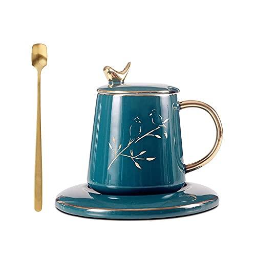 XYJ Taza de cerámica Copa de cocción y platillo a alta temperatura hecha a mano con una cuchara de tapa Copa de agua de la taza de agua de la taza de desayuno de la taza adecuada para el restaurante d