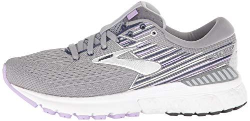 Brooks Womens Adrenaline GTS 19 Running Shoe - Grey/Lavender/Navy - B - 9.5 6