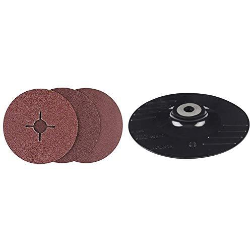 Bosch 2 609 256 254 - Juego de Discos Lijadores de Fibra de 12 Piezas Para Amoladora Angular, Corindón + 2 609 256 257 - Plato Lijador Para Amoladoras Angulares, Sistema de Sujeción, 125 Mm