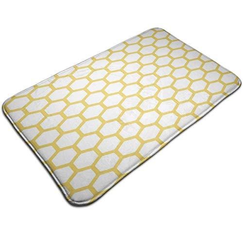 KINKPH Badmat, Zeshoekig Patroon Honingraat Bijenkorf Simplistische Geometrische Monochroom, Pluche Badkamer Decor Mat Non Slip Backing, 19.5 * 31.5 inch