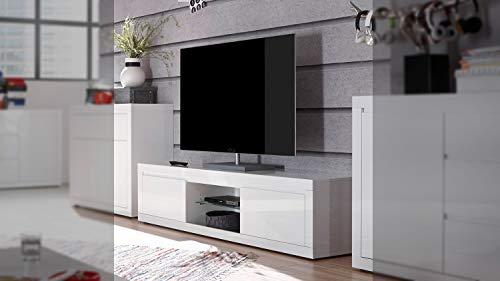 Fernsehschrank Lowboard Paint TV-Board TV-Unterschrank weiß Hochglanz Lack