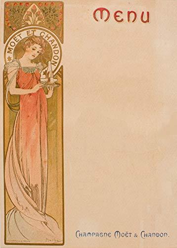Vintage bieren, wijnen en sterke drank 'Moet and Chandon Menukaart' door Alphonse Mucha, 1897, 250gsm Zacht-Satijn Laagglans Reproductie A3 Poster