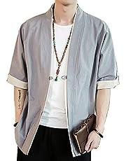 haomaomao 夏服 メンズ 和式パーカー 五分袖 カーディガン コート 無地 和風 羽織 一つボタン シンプル トップス ゆったり カジュアル おしゃれ 大きいサイズ