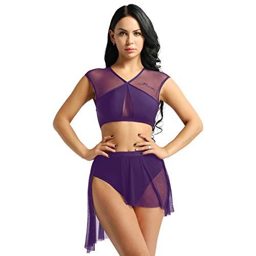 TiaoBug Ragazze Vestito da Balletto Donne Leotard Ginnastica Body Senza Manica Bodysuit 2 Pezzi Dancewear Danza Classica Latino Tutu Spettacolo Allenamento Ballo Viola XS