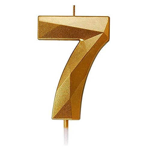 Candele di Compleanno Numbero 7, Candele Glitter Oro Compleanno Candele di Torta a Forma di Diamante 3D Topper di Torta di Numero Decorazione per Nozze Compleanno Anniversario Celebrazione Forniture