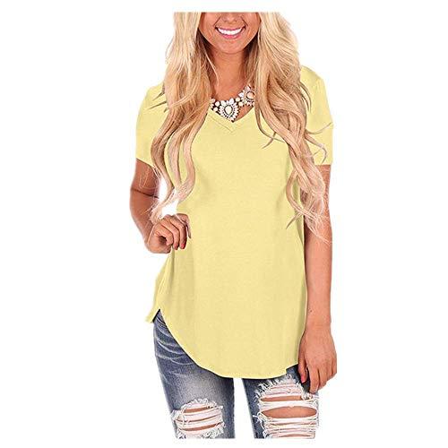 Manga corta blanca camiseta de algodón básica camiseta de verano de las mujeres de la camiseta casual sólido suelto top V cuello señoras - amarillo - XXX-Large