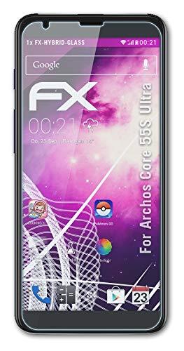 atFolix Glasfolie kompatibel mit Archos Core 55S Ultra Panzerfolie, 9H Hybrid-Glass FX Schutzpanzer Folie
