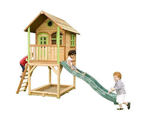 Beauty.Scouts Holzspielhaus Wicki mit Veranda + Rutsche + Leiter + Sandkasten 172x370x291cm aus Zedernholz in braun Kinderspielhaus Holzhaus Stelzenhaus