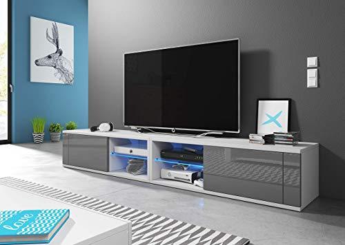 3xeLiving Azalia Soporte de TV Moderno con Doble LED Blanco/Glossy 200cm