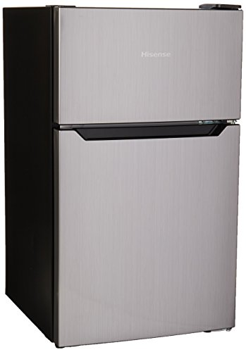 Hisense RT33D6AAE Frigobar Doble Puerta P3, color Plata, 3.3 Feet