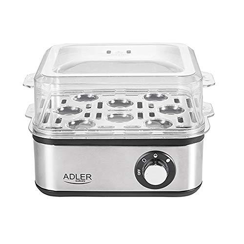 Adler Cuociuova elettrico, 1-8 uova, 500 Watt, piastra riscaldante in acciaio inox, spegnimento automatico, spia di controllo, protezione da surriscaldamento, fornello per uova