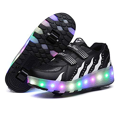 LED Luces Zapatos con Ruedas para Pequeños Niños y Niña Automática Calzado de Skateboarding,Automática Calzado de Skateboarding Deportes de Exterior Patines en Línea Brillante,Black-42