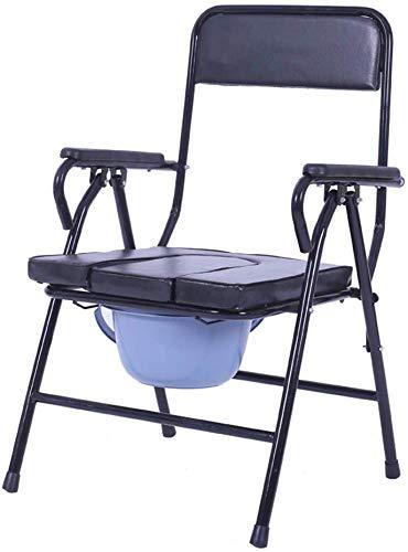 FREIHE Toiletstoel Bedkant commode stoel - draagbare, zware medische hulp, opvouwbare 3-in-1 douchestoel, wc-bril met leuning en emmer